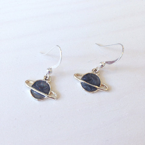 Shimmery Saturn Drop Earrings