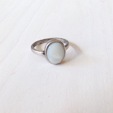 White Oval Stone Ring