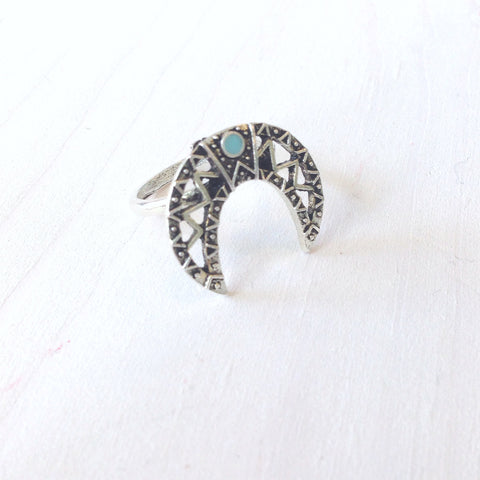 Turquoise Curved Horn Ring