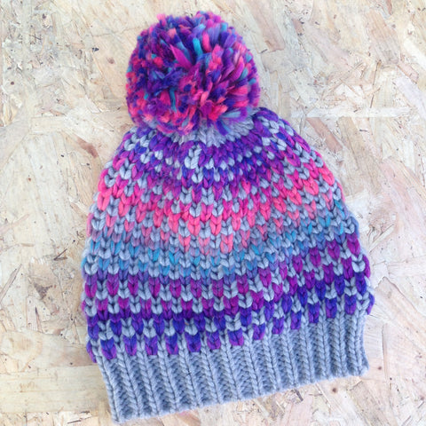 Purple Pastels Bobble Hat