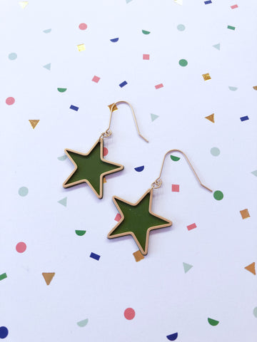Green Star Drop Earrings