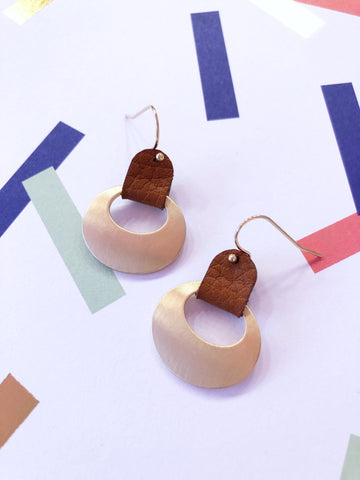 Tan Faux Leather Ring Earrings