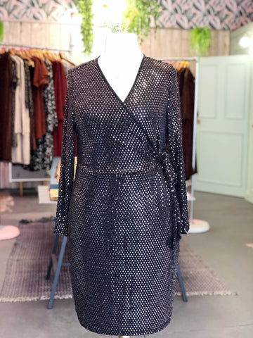Shimmer Diamond Wrap Dress