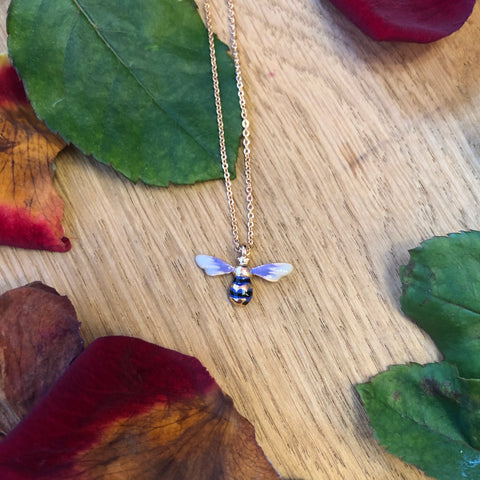 Short Lavender Bee Necklace