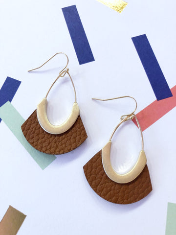 Tan Faux Leather Earrings