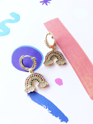 Rainbow Cloud Hoop Drop Earrings