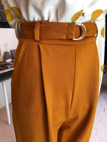 Mustard belted trousers