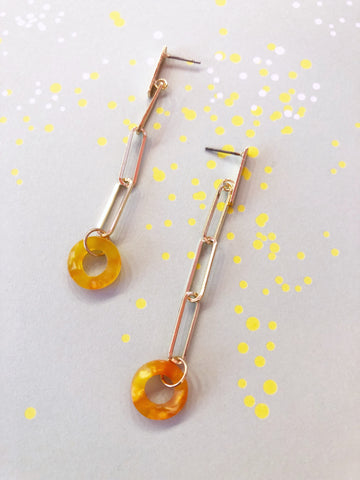 Citrine Acrylic Circle Link Earrings