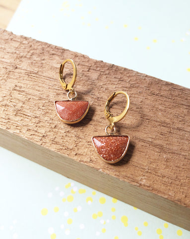 Glittery Rust Huggie Hoop Earrings