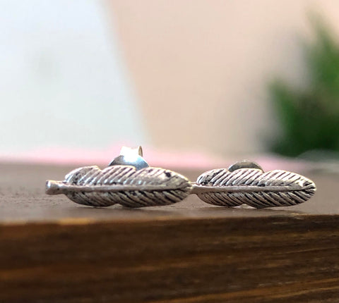 925 Sterling Silver Feather Earrings
