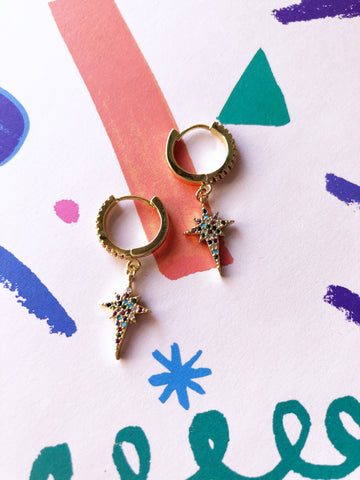 Rainbow Star Hoop Drop Earrings
