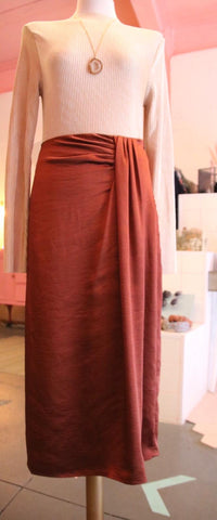 Rust Pleated Midi Skirt