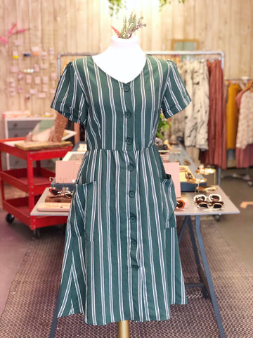 Forest Green Stripe Dress