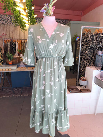 Muted Green Wrap Dress