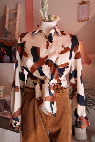 Oversized Abstract Faux Silk Shirt
