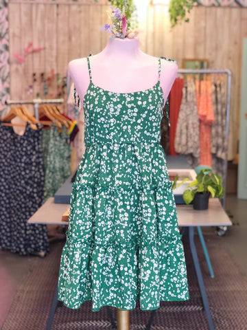 Grass Green Floral Tiered Mini Dress
