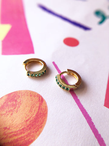 Mini Emerald Jewel Hoops