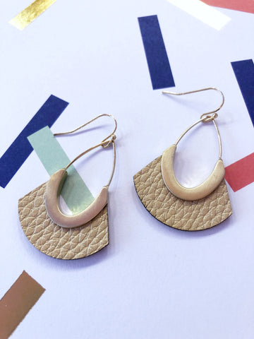 Golden Faux Leather Earrings