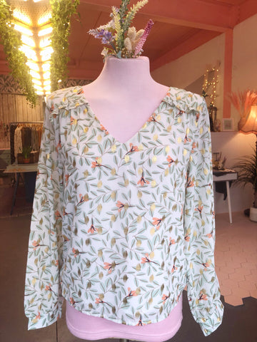 Peach Floral Foliage Blouse