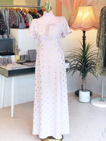 Palest Pink Golden Spots Maxi Dress
