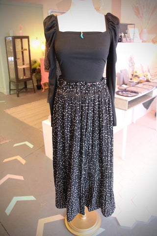 Monochrome Dotty Midi Skirt