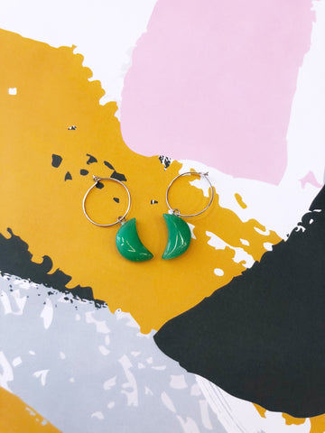 Green Aventurine Moon Hoops