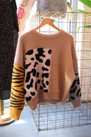 Mixed Animal Print Jumper
