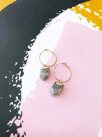 Grey Tourmaline Hoops