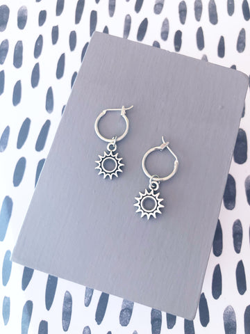 Silver Sun Hoop Earrings