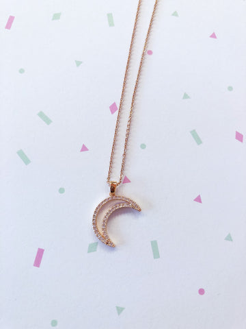 Rose Gold Crystal Crescent Moon Necklace