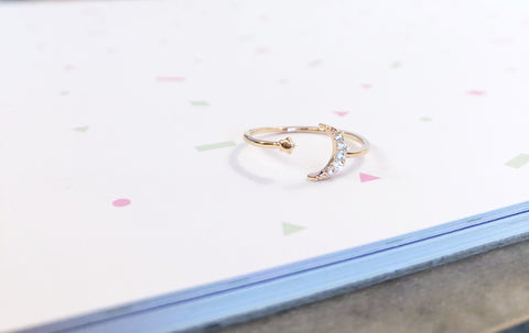 Rose Gold Moon and Mini Star Ring