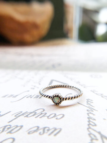 Teeny Twisted Mermaid Stone Ring