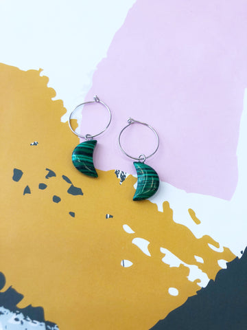 Green Malachite Moon Hoops