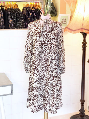 Pale Leopard Smock Midi Dress