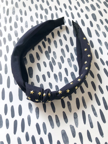 Dark Navy Stars Knot Headband