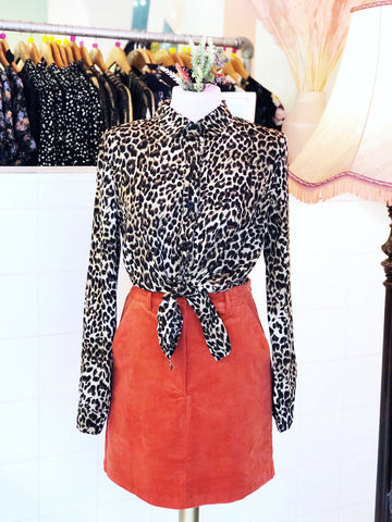Leopard Print Tie Up Shirt