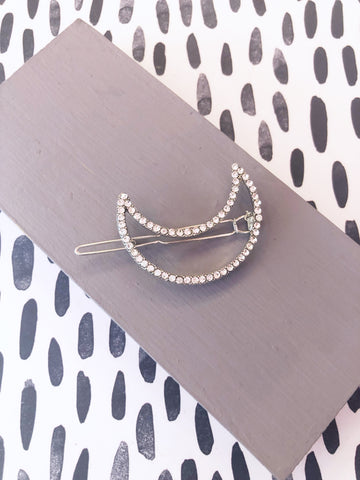 Crystal Crescent Moon Hairclip