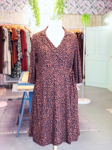 Tobacco Leopard Print Wrap Plus Dress