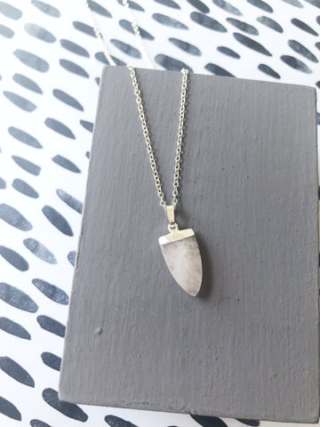 Rose Quartz Shield Necklace