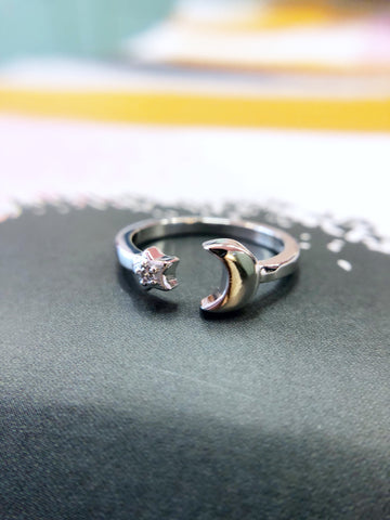 Teeny Moon and Star Ring