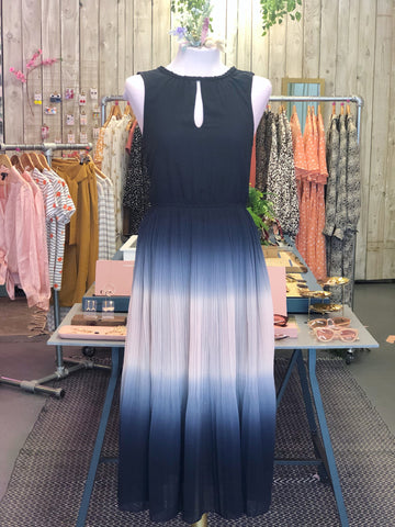 Ombré Pleated Midi Dress