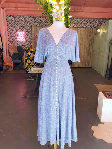 Sky Blue Ditsy Button Down Maxi Dress