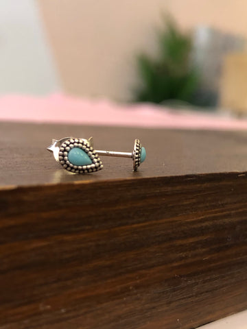 925 Sterling Silver Tiny Turquoise Teardrop Earrings