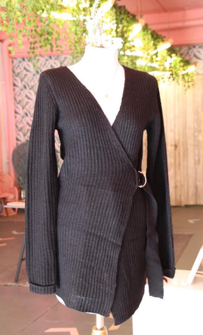 Long Black Knit Wrap Cardigan