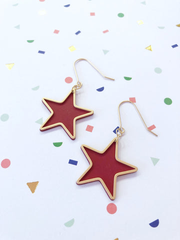 Red Star Drop Earrings