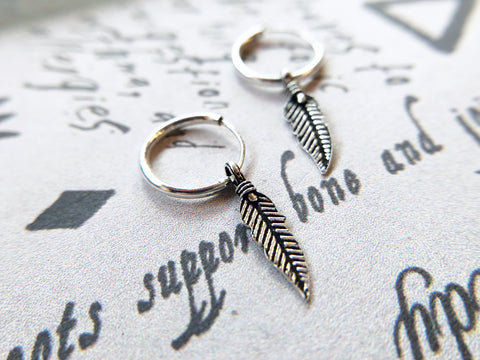 Feather Drop Mini Hoops