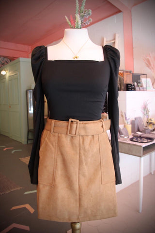 Caramel Belted Mini Skirt