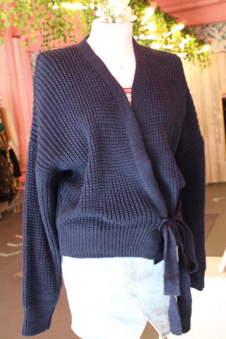 Navy Chunky Knit Wrap Cardigan