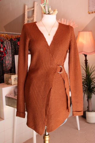 Rust Long Wrap Cardigan