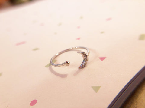 Silver Moon and Mini Star Ring